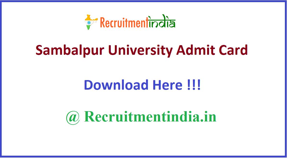 Sambalpur University Admit Card
