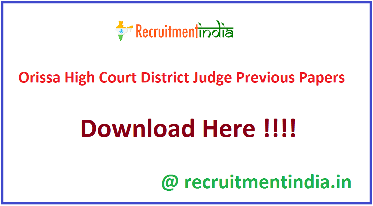 Orissa High Court District Judge Previous Papers