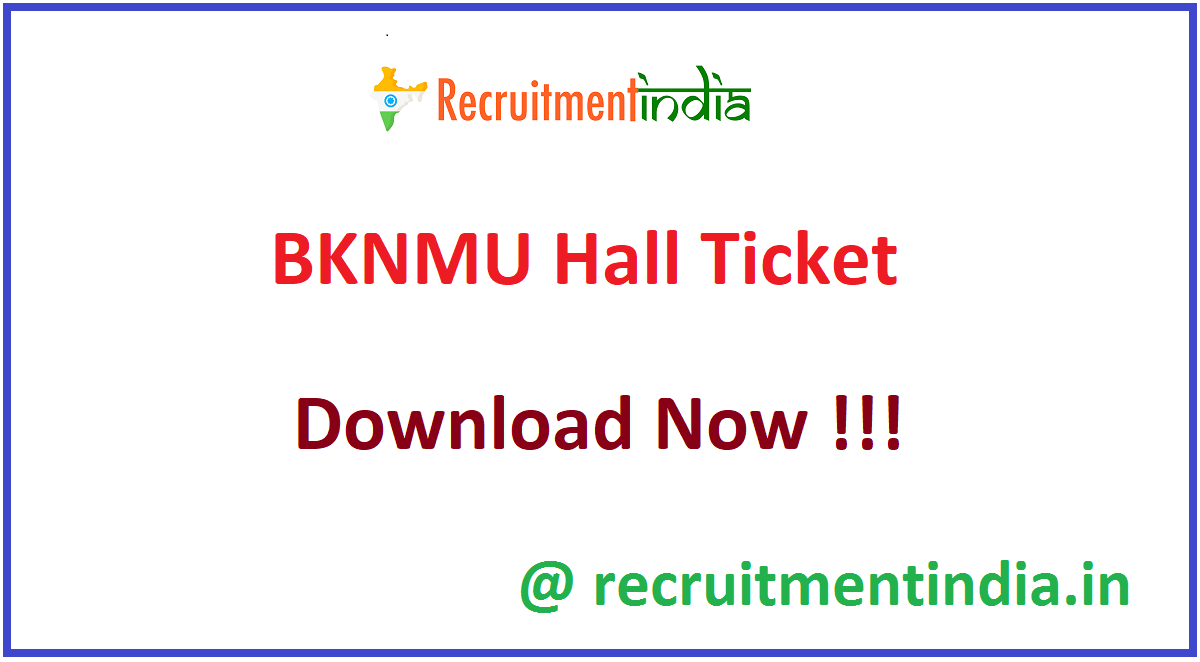 BKNMU Hall Ticket