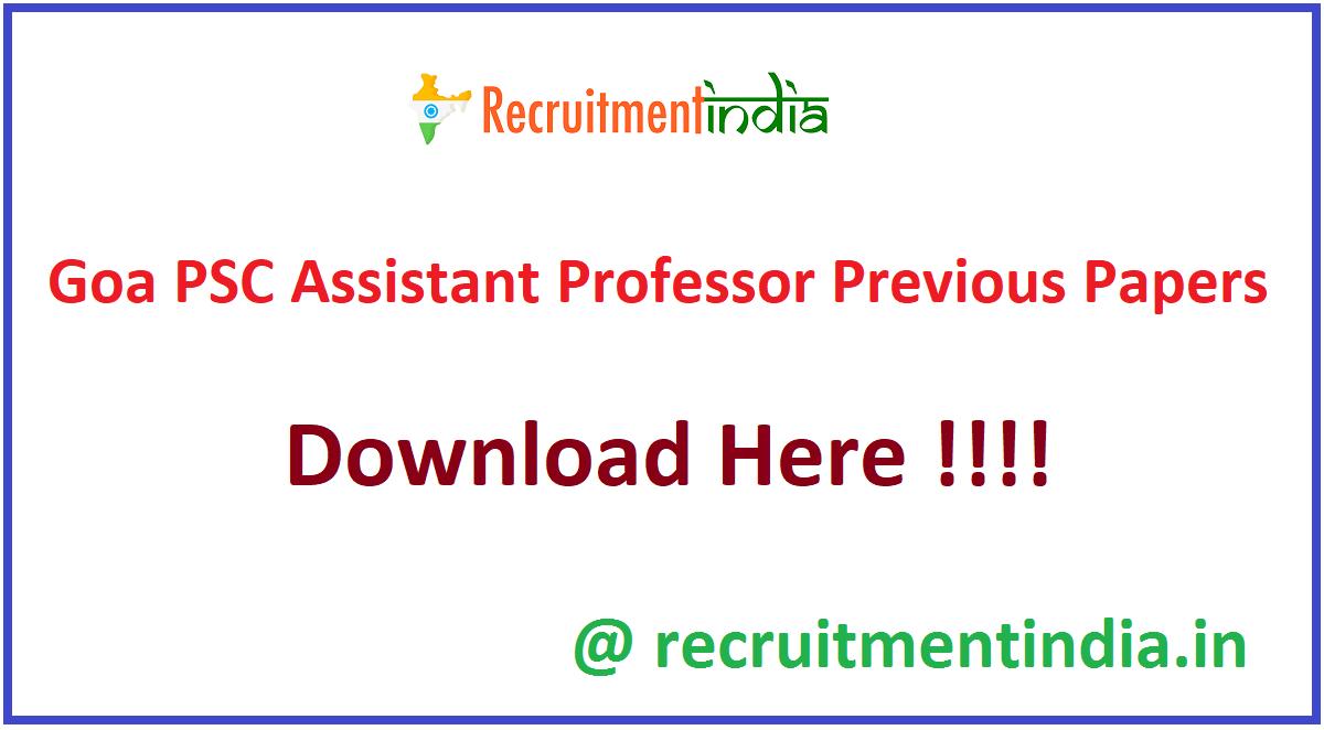 Goa PSC Assistant Professor Previous Papers