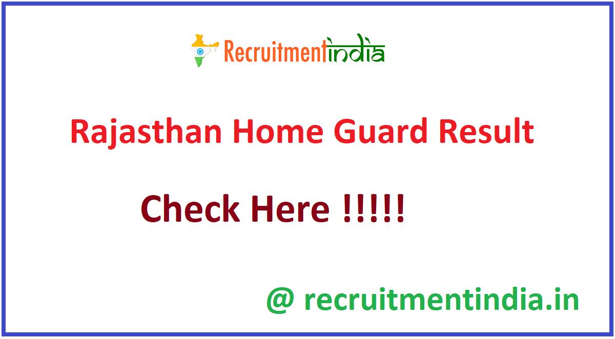 Rajasthan Home Guard Result