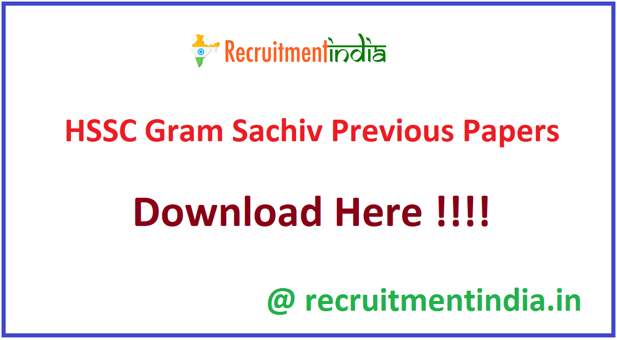 HSSC Gram Sachiv Previous Papers