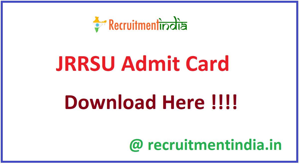 JRRSU Admit Card