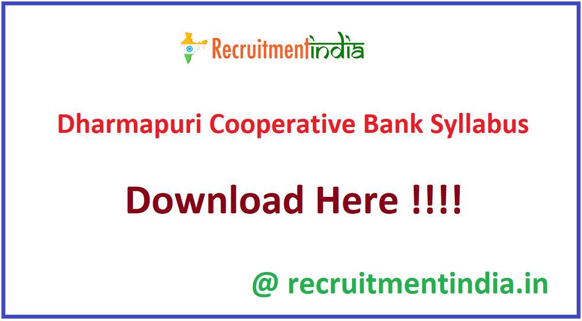 Dharmapuri Cooperative Bank Syllabus