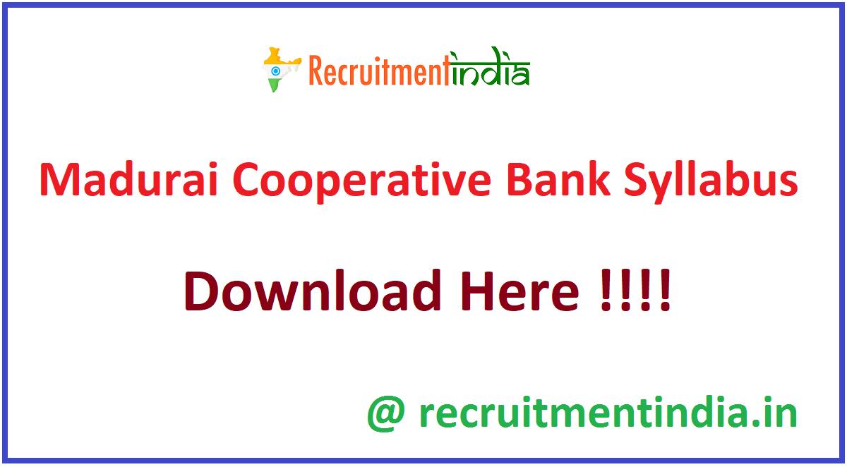 Madurai Cooperative Bank Syllabus
