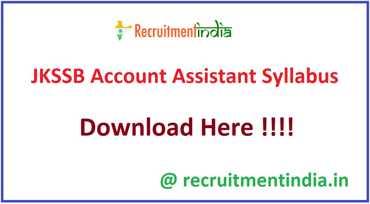 JKSSB Account Assistant Syllabus