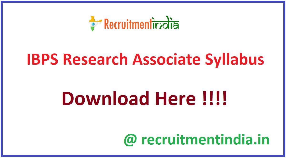 IBPS Research Associate Syllabus
