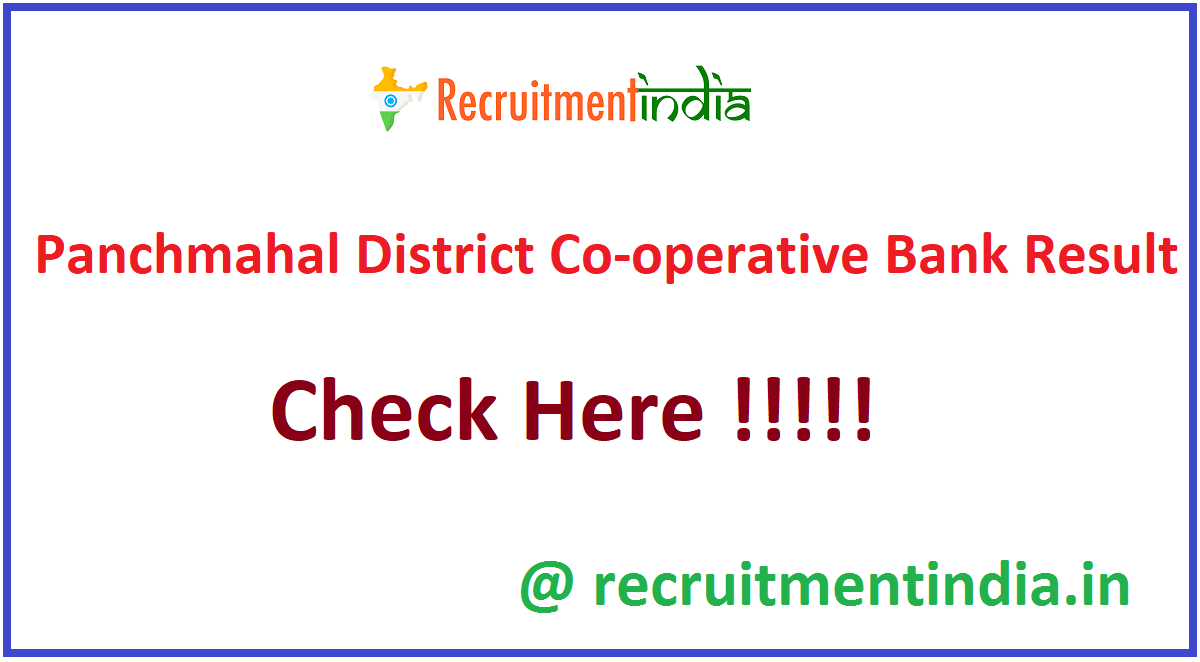 Panchmahal District Co-operative Bank Result