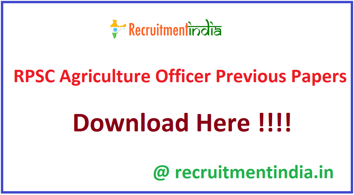 RPSC Agriculture Officer Previous Papers