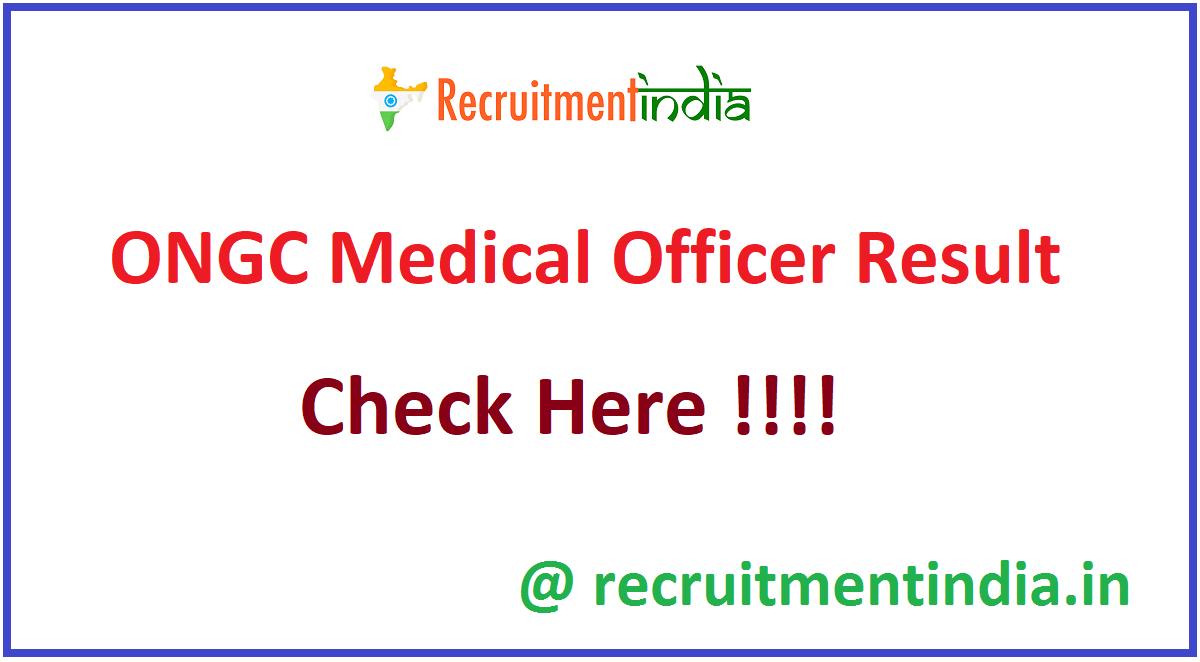 ONGC Medical Officer Result