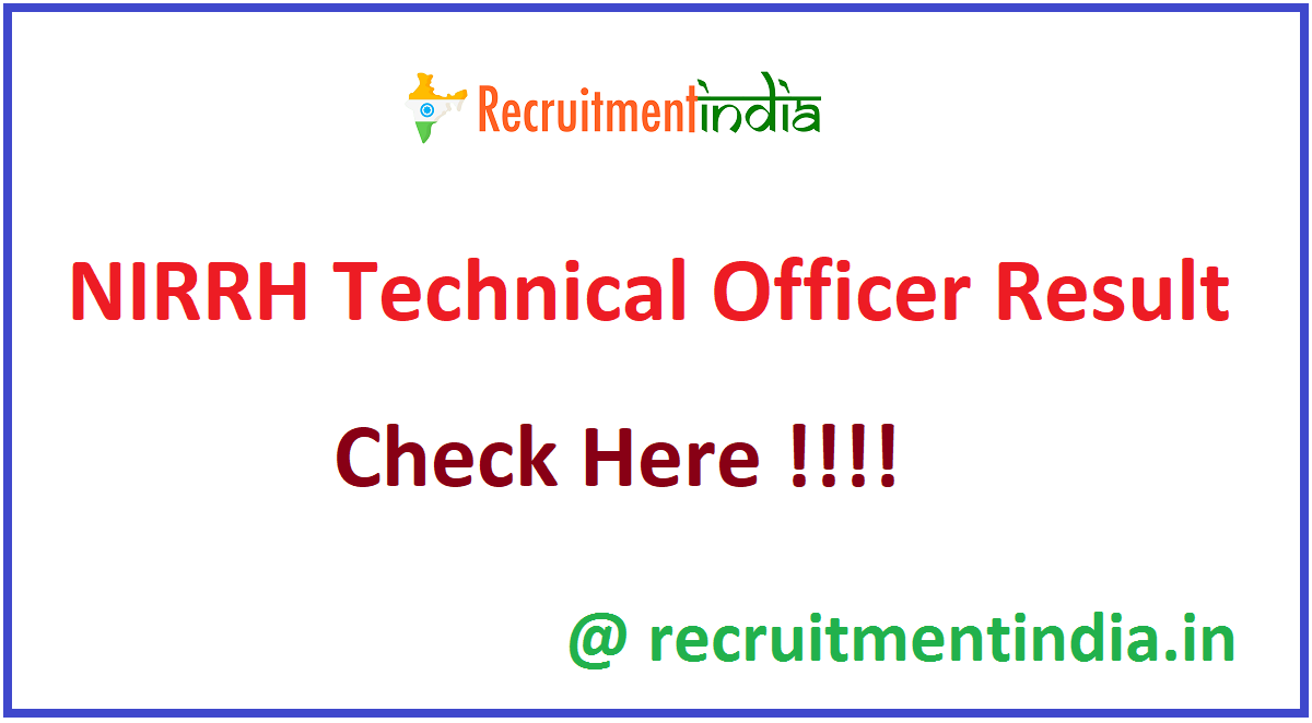 NIRRH Technical Officer Result