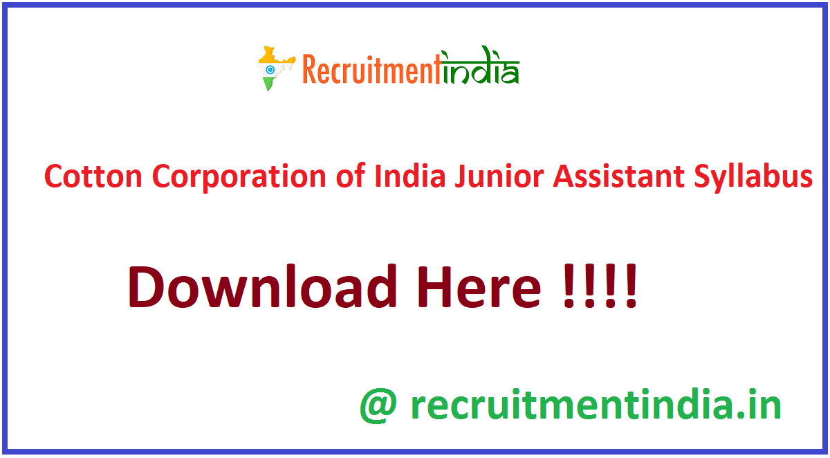 Cotton Corporation of India Junior Assistant Syllabus