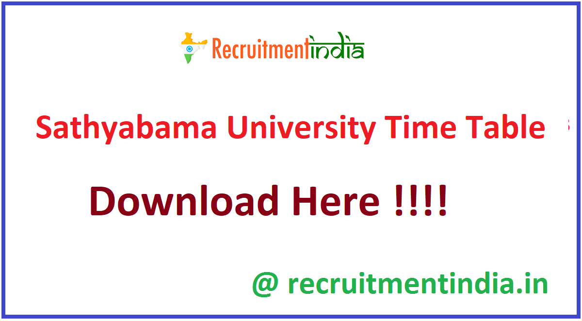 Sathyabama University Time Table