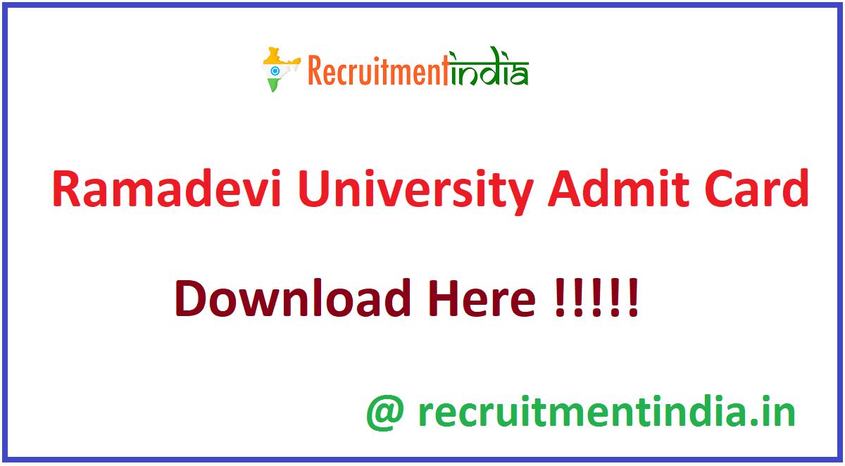 Ramadevi University Admit Card