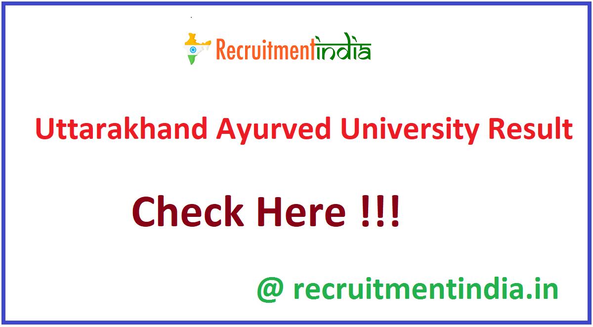Uttarakhand Ayurved University Result