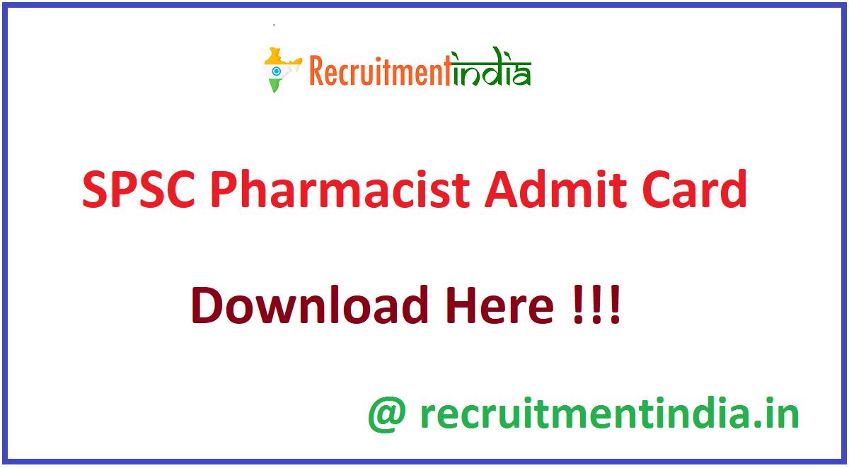 SPSC Pharmacist Admit Card