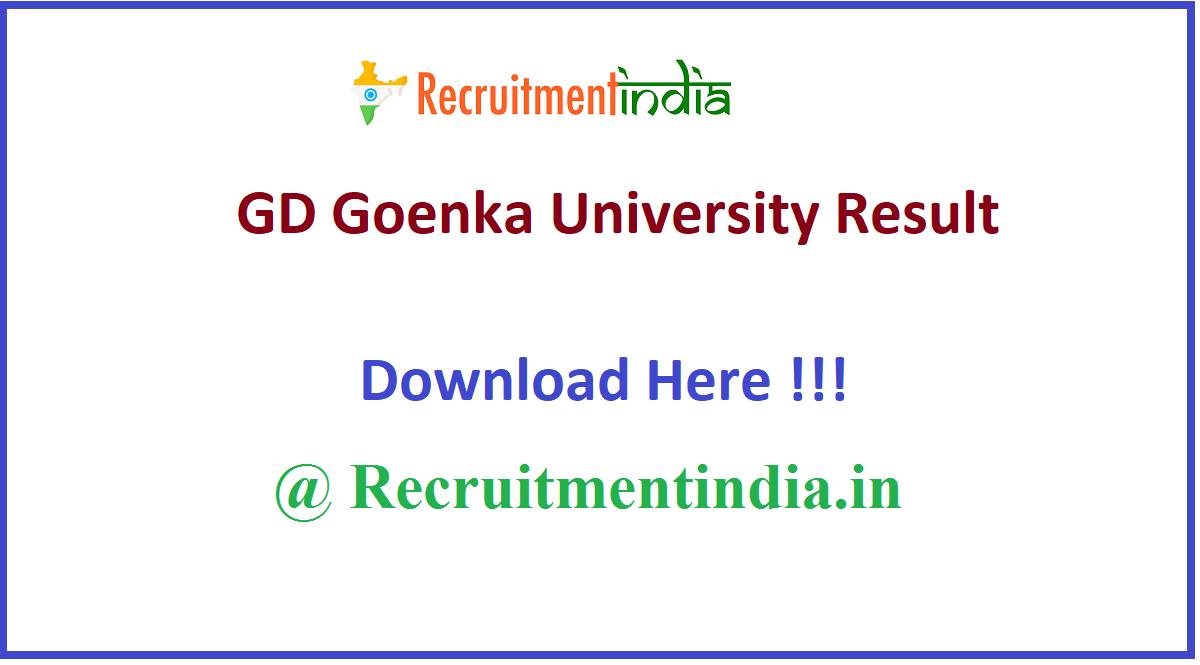 GD Goenka University Result