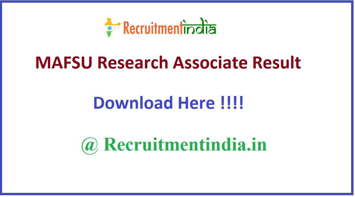 MAFSU Research Associate Result