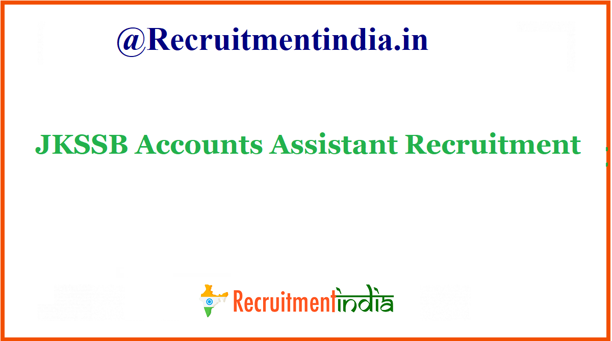 JKSSB Accounts Assistant Recruitment