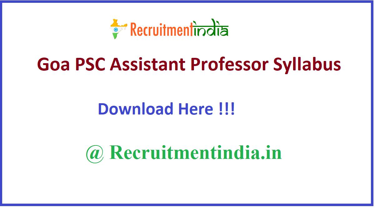 Goa PSC Assistant Professor Syllabus