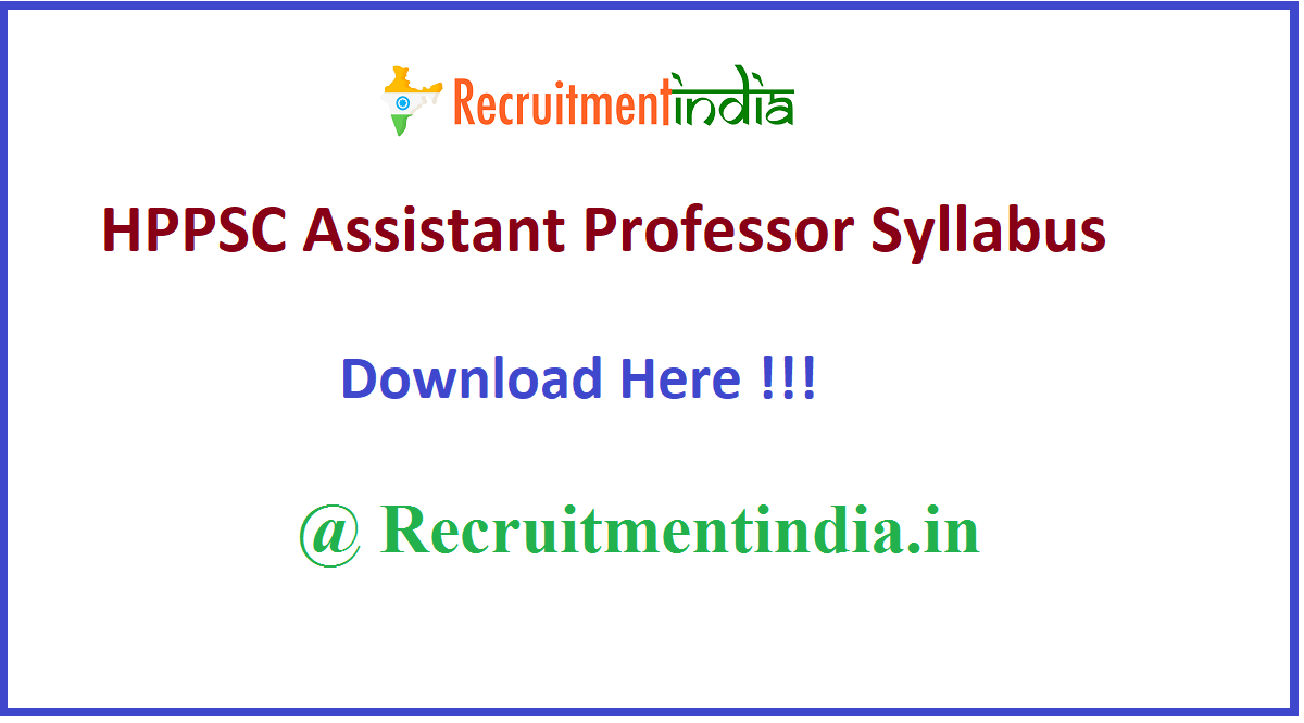 HPPSC Assistant Professor Syllabus