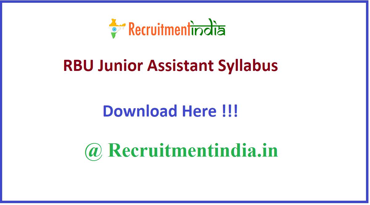 RBU Junior Assistant Syllabus