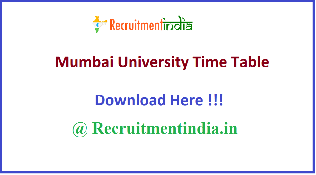 Mumbai University Time Table