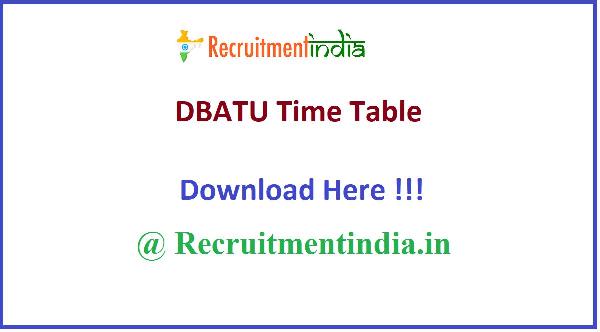 DBATU Time Table