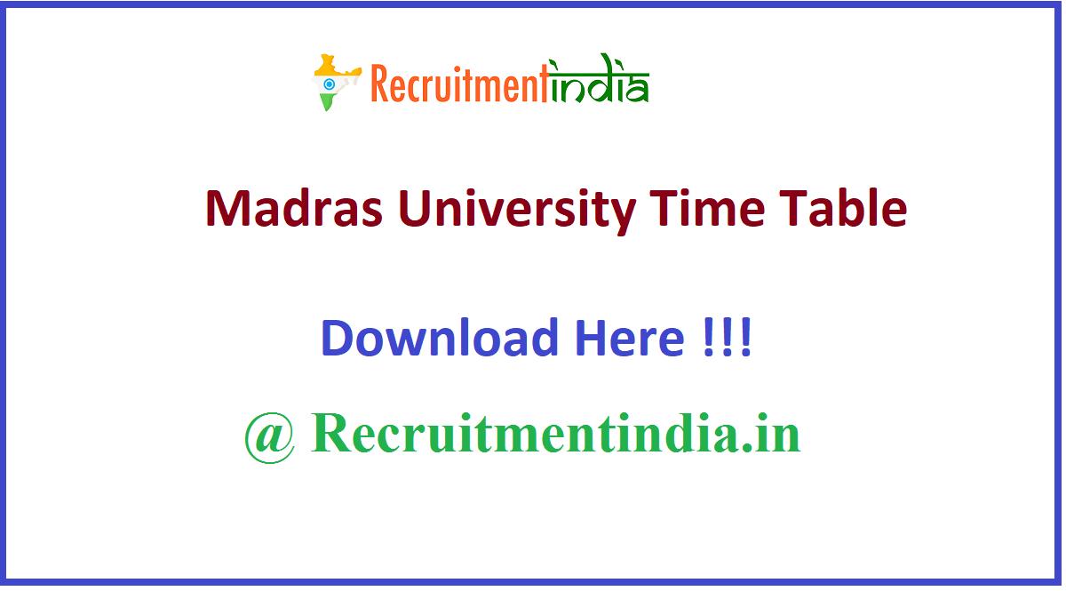 Madras University Time Table