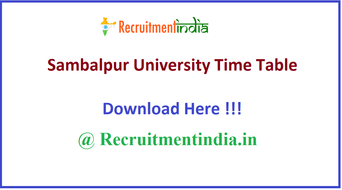 Sambalpur University Time Table