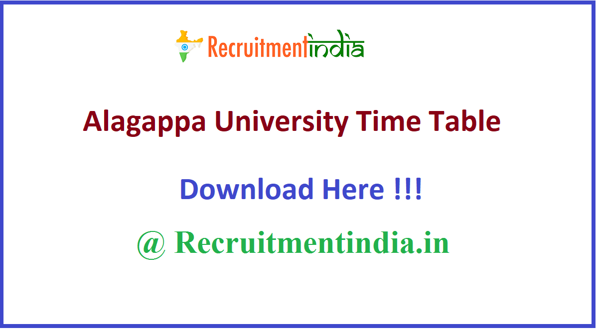 Alagappa University Time Table
