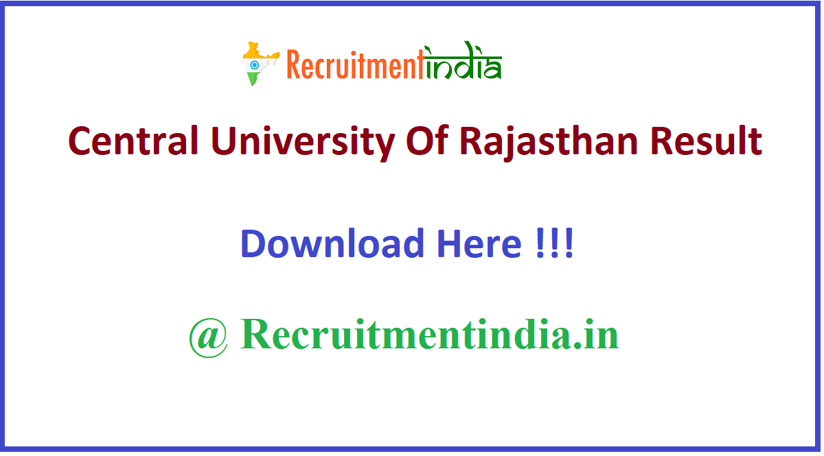 Central University Of Rajasthan Result