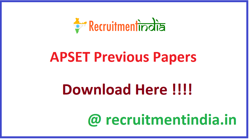 APSET Previous Papers