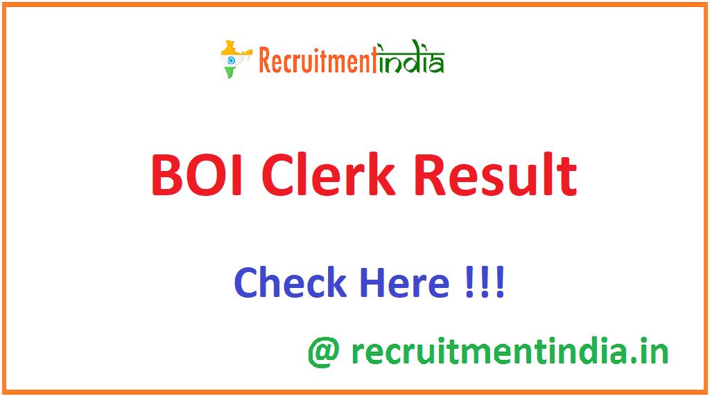 BOI Clerk Result