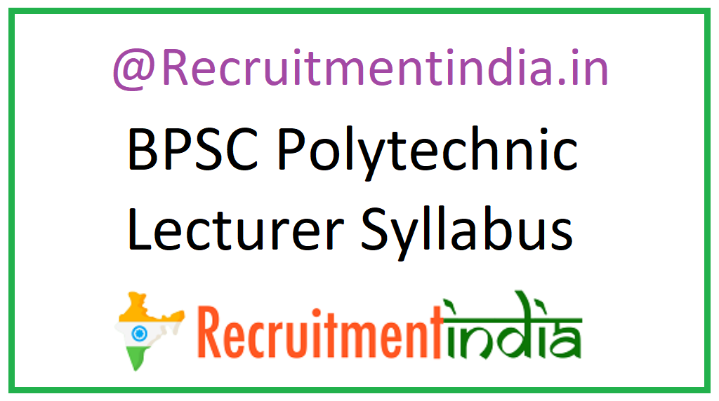 BPSC Polytechnic Lecturer Syllabus