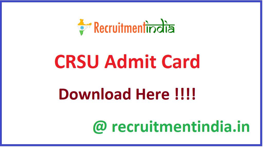 CRSU Admit Card