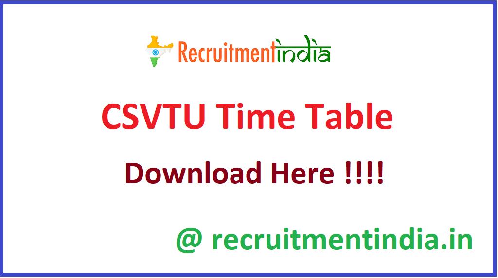 CSVTU Time Table