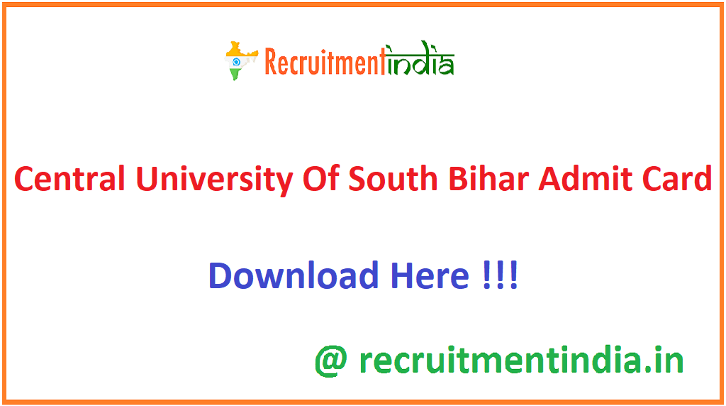 Central University Of South Bihar Admit Card
