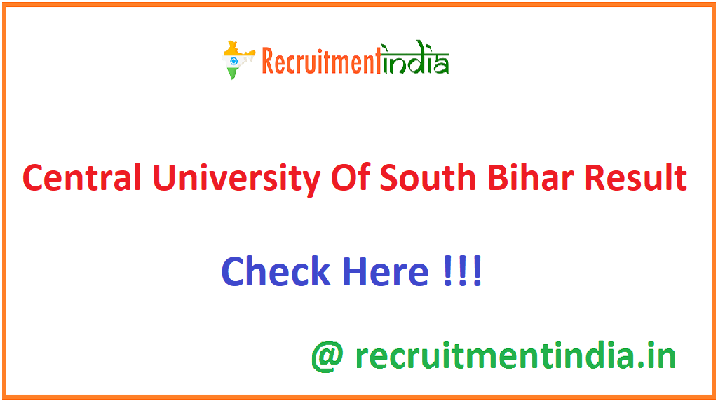 Central University Of South Bihar Result