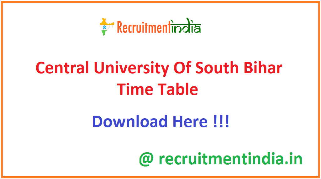 Central University Of South Bihar Time Table