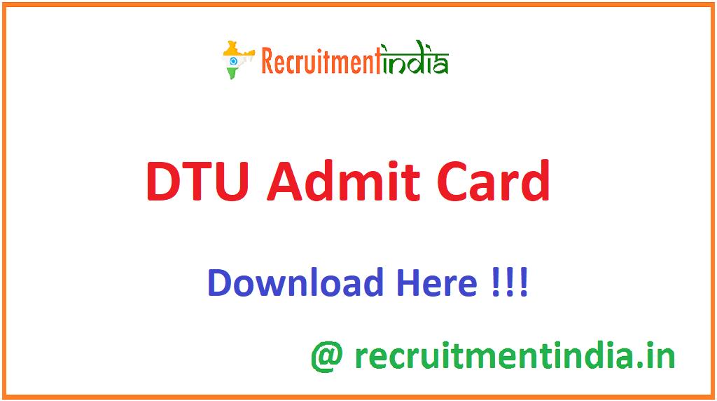 DTU Admit Card
