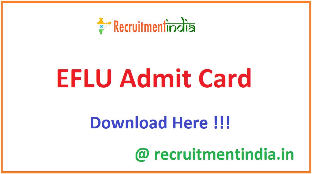 EFLU Admit Card