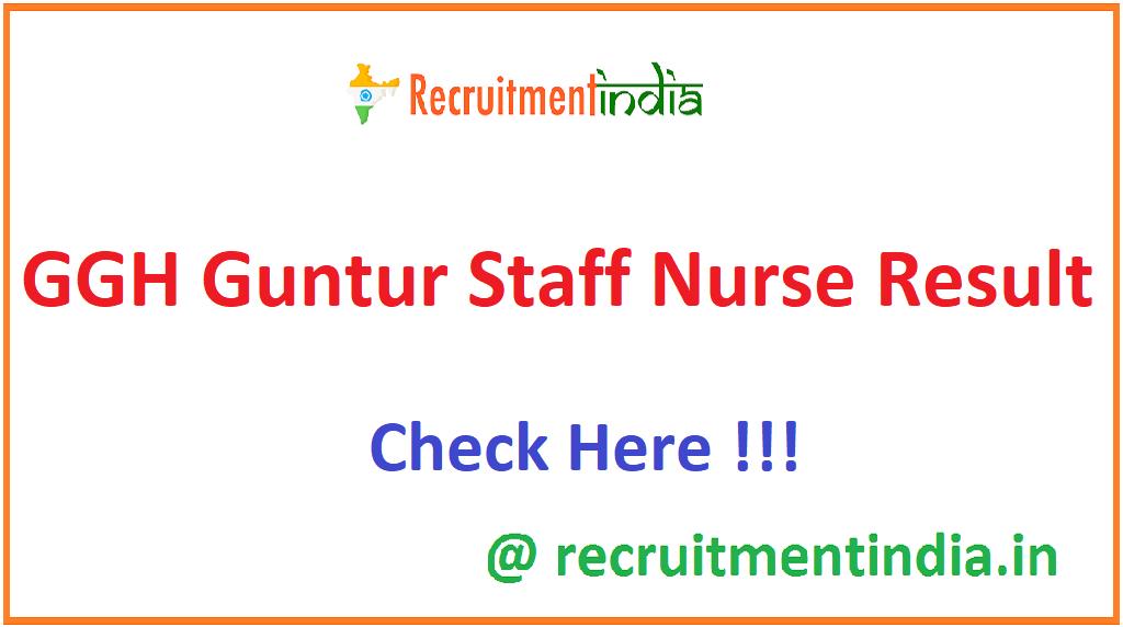 GGH Guntur Staff Nurse Result