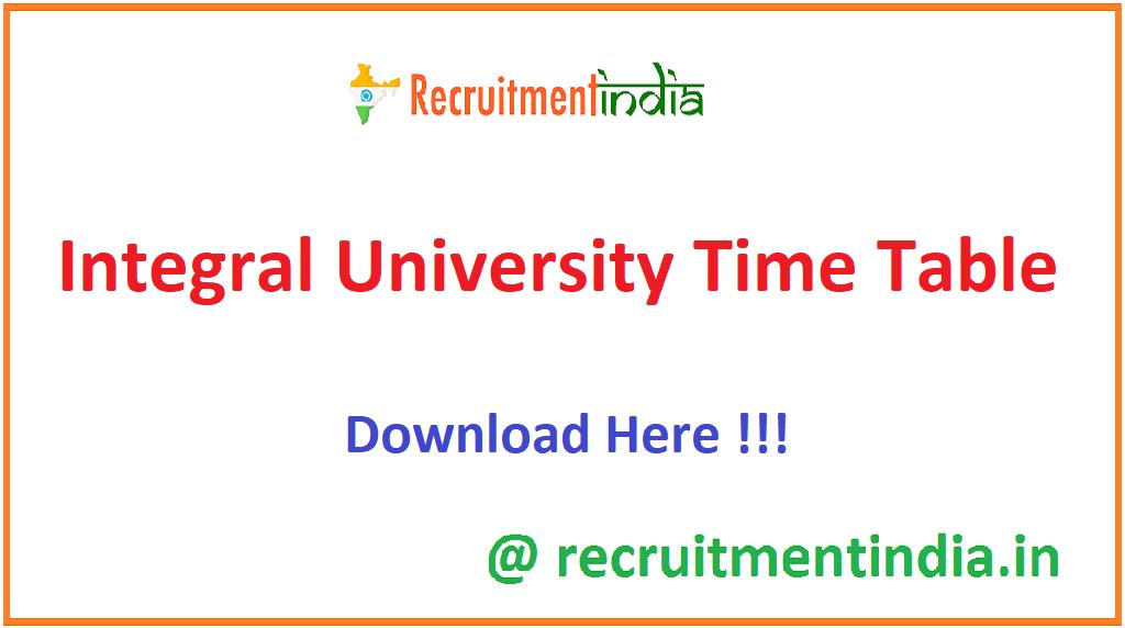 Integral University Time Table