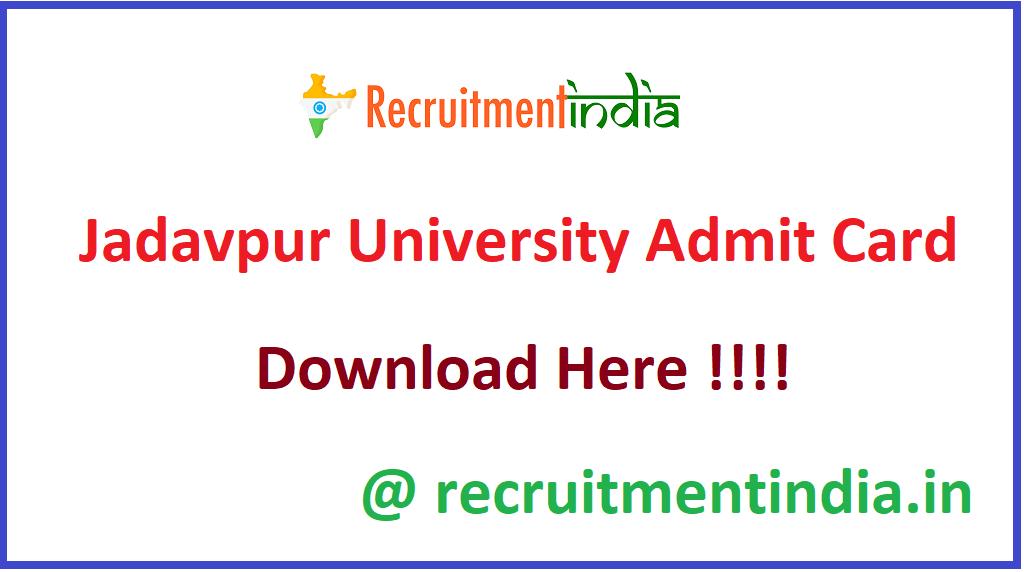 Jadavpur University Admit Card