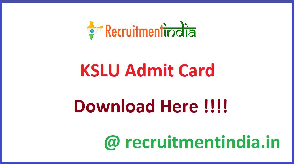 KSLU Admit Card