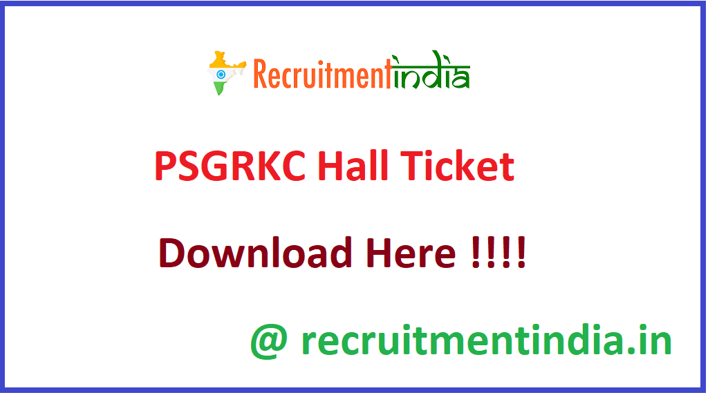 PSGRKC Hall Ticket