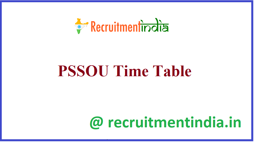 PSSOU Time Table