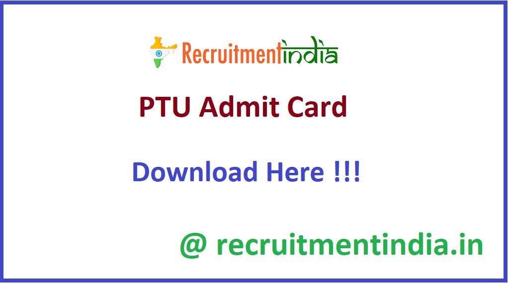 PTU Admit Card