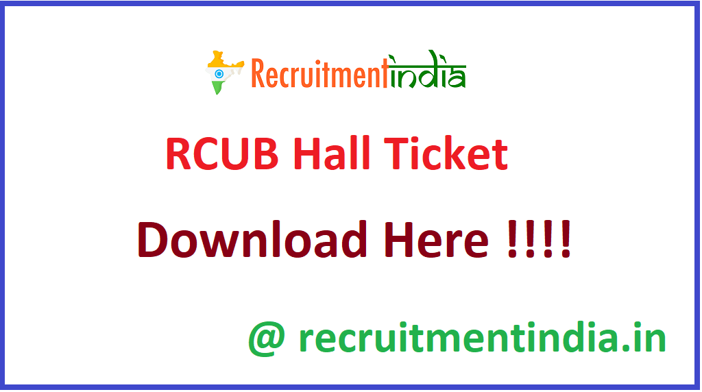 RCUB Hall Ticket